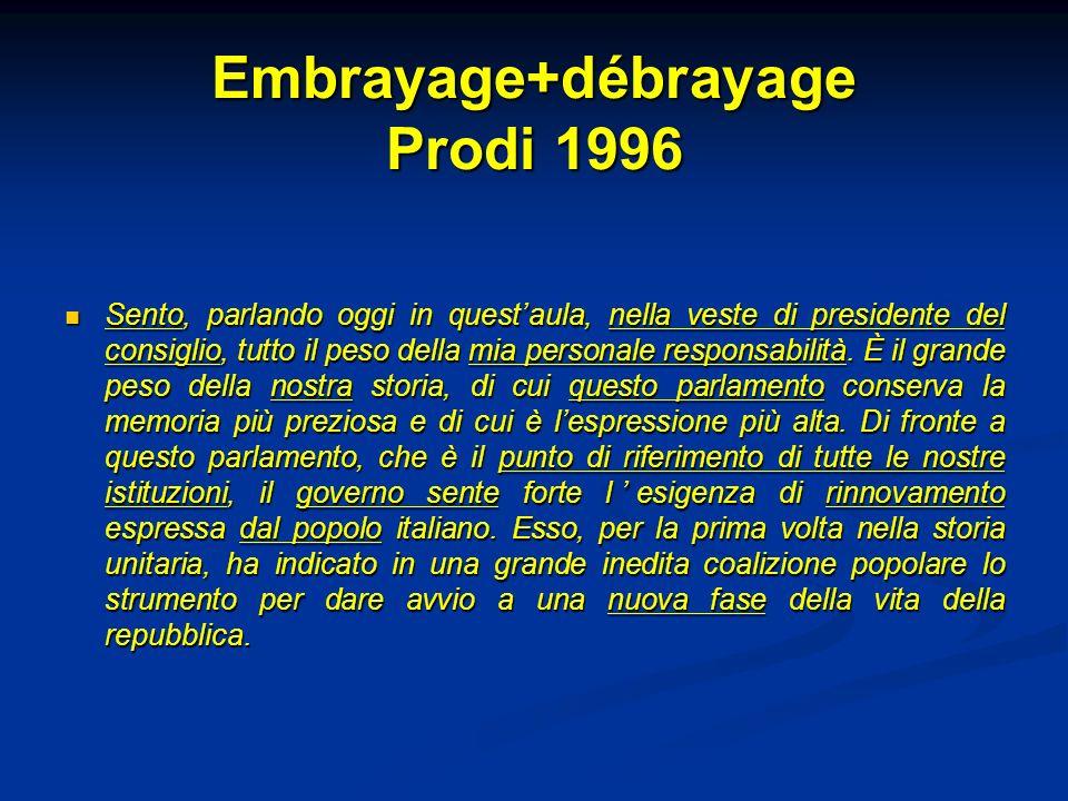 Embrayage+débrayage Prodi 1996 Sento, parlando oggi in questaula, nella veste di presidente del consiglio, tutto il peso della mia personale responsab