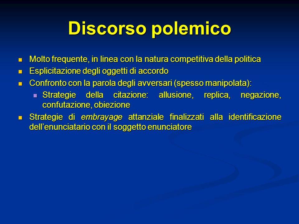 Discorso polemico Molto frequente, in linea con la natura competitiva della politica Molto frequente, in linea con la natura competitiva della politic