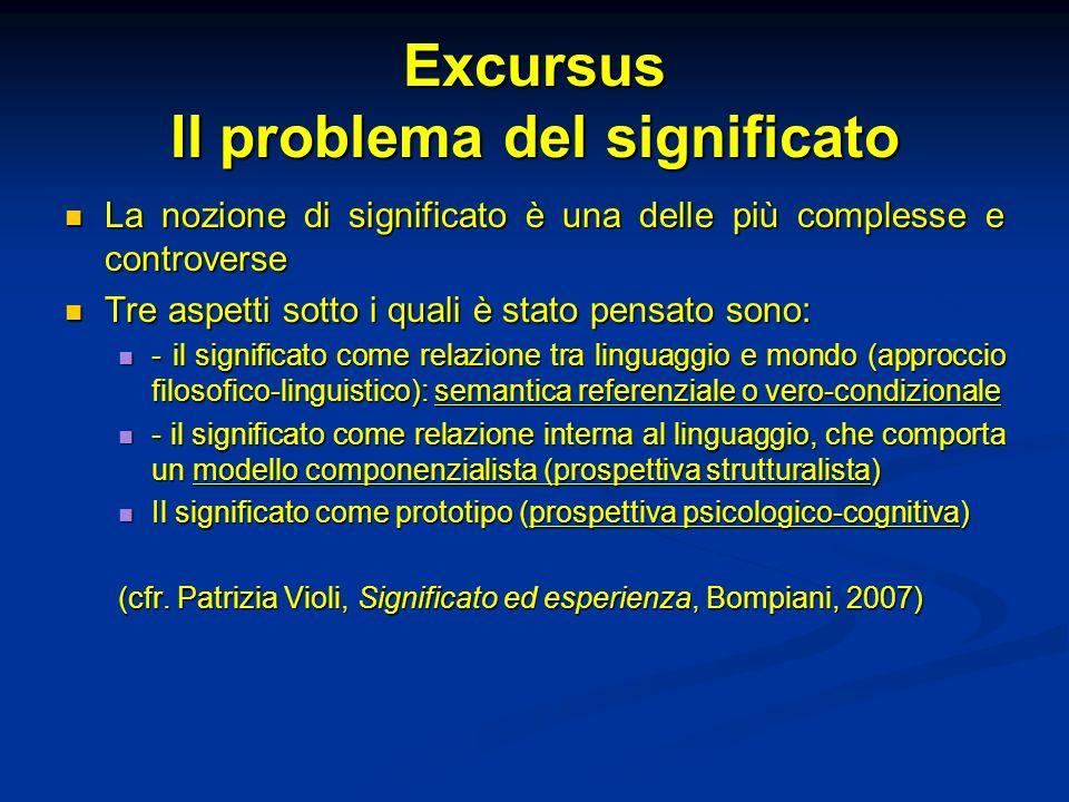 Excursus Il problema del significato La nozione di significato è una delle più complesse e controverse La nozione di significato è una delle più compl