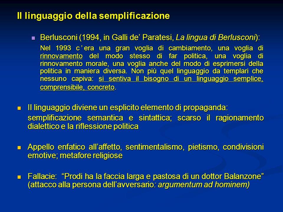 Il linguaggio della semplificazione Berlusconi (1994, in Galli de Paratesi, La lingua di Berlusconi): Berlusconi (1994, in Galli de Paratesi, La lingu