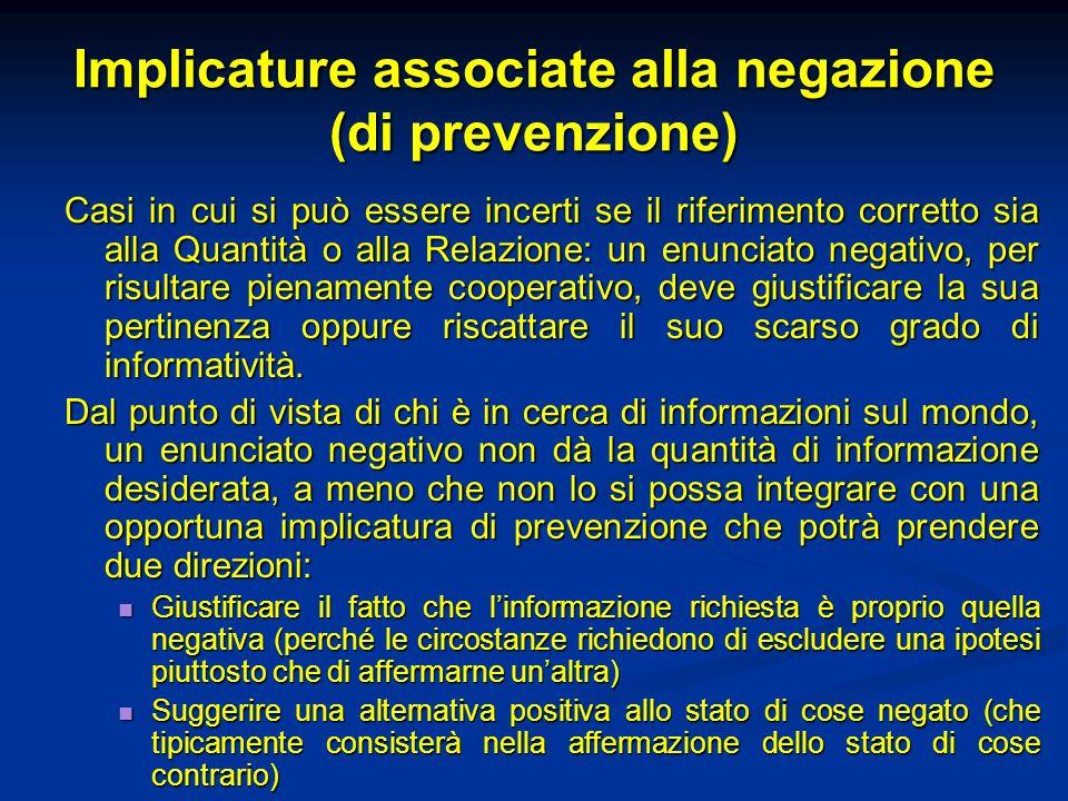 Implicature associate alla negazione (di prevenzione) Casi in cui si può essere incerti se il riferimento corretto sia alla Quantità o alla Relazione: