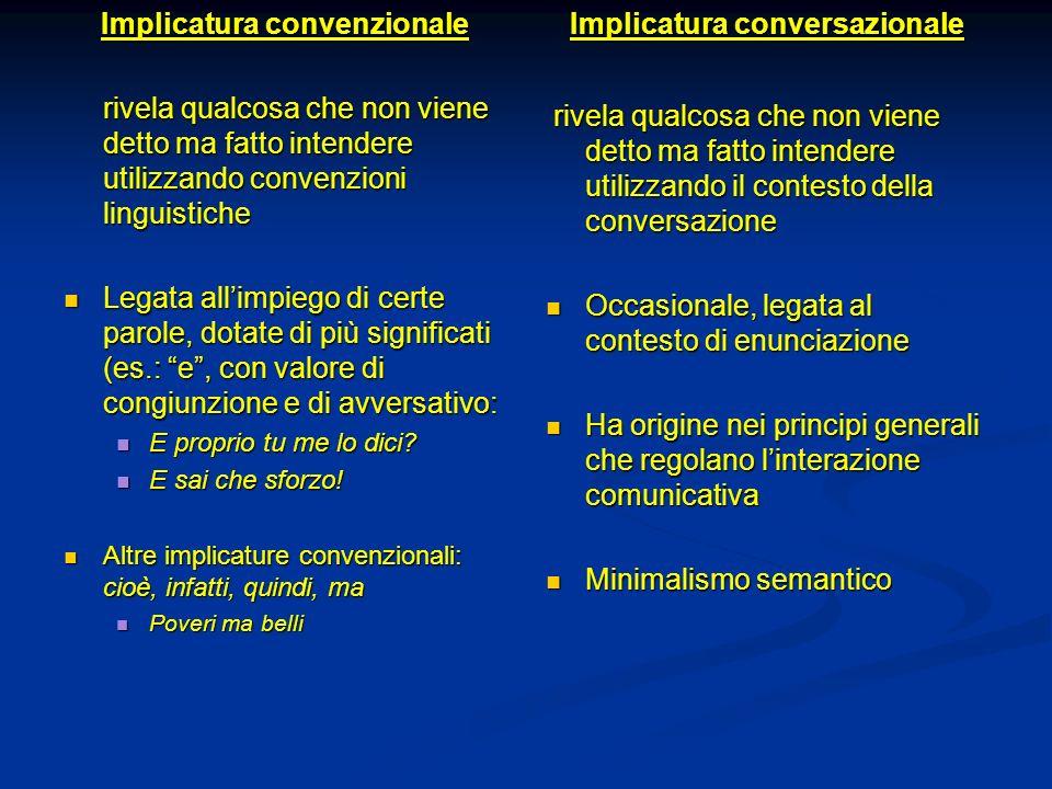 Implicatura convenzionale rivela qualcosa che non viene detto ma fatto intendere utilizzando convenzioni linguistiche Legata allimpiego di certe parol