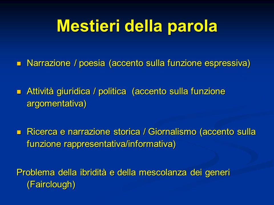 Mestieri della parola Narrazione / poesia (accento sulla funzione espressiva) Narrazione / poesia (accento sulla funzione espressiva) Attività giuridi
