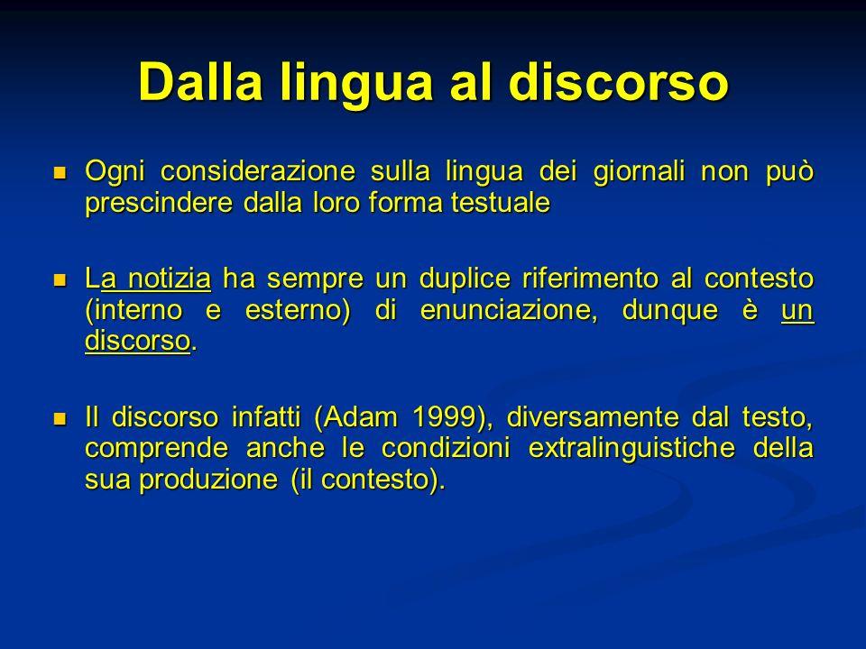 Dalla lingua al discorso Ogni considerazione sulla lingua dei giornali non può prescindere dalla loro forma testuale Ogni considerazione sulla lingua