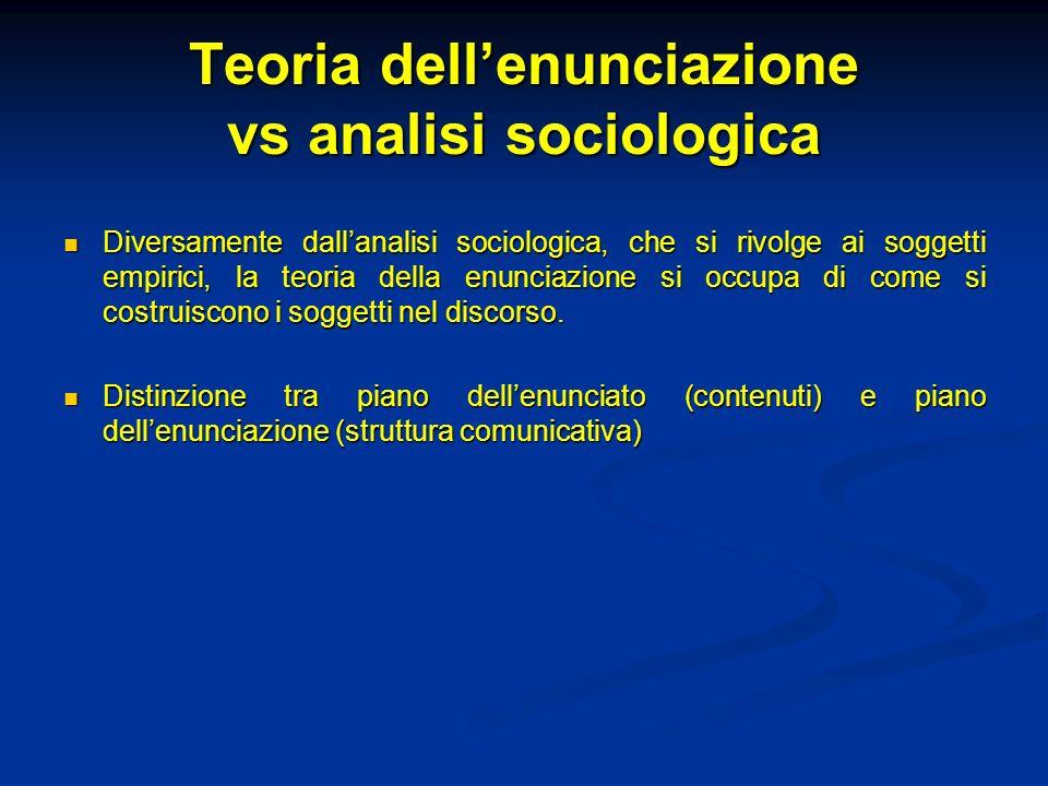 Teoria dellenunciazione vs analisi sociologica Diversamente dallanalisi sociologica, che si rivolge ai soggetti empirici, la teoria della enunciazione