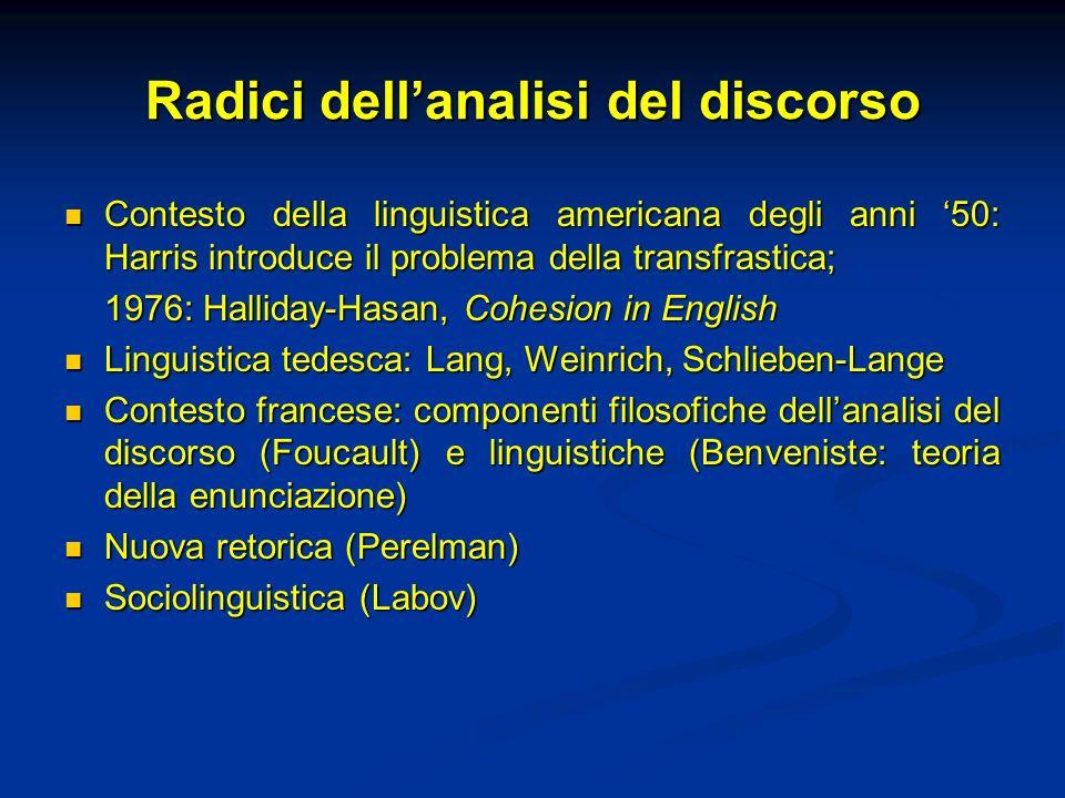 Radici dellanalisi del discorso Contesto della linguistica americana degli anni 50: Harris introduce il problema della transfrastica; Contesto della l