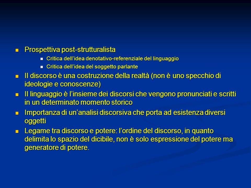 Prospettiva post-strutturalista Prospettiva post-strutturalista Critica dellidea denotativo-referenziale del linguaggio Critica dellidea denotativo-re