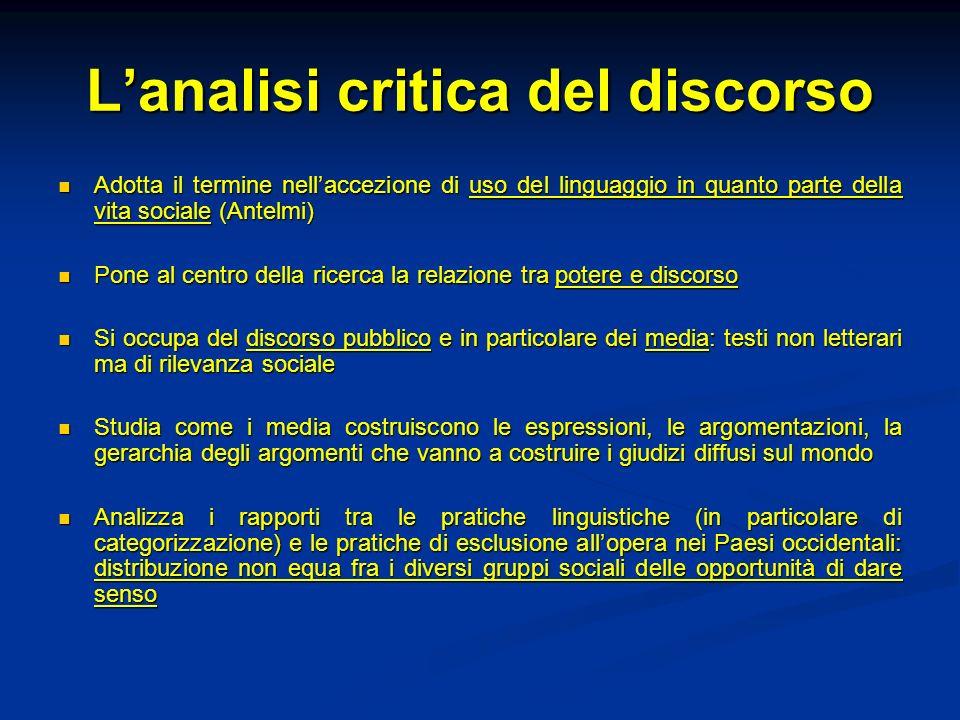 Lanalisi critica del discorso Adotta il termine nellaccezione di uso del linguaggio in quanto parte della vita sociale (Antelmi) Adotta il termine nel