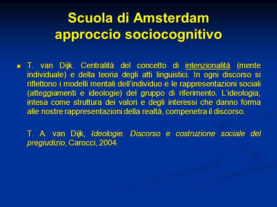 Scuola di Amsterdam approccio sociocognitivo T. van Dijk. Centralità del concetto di intenzionalità (mente individuale) e della teoria degli atti ling