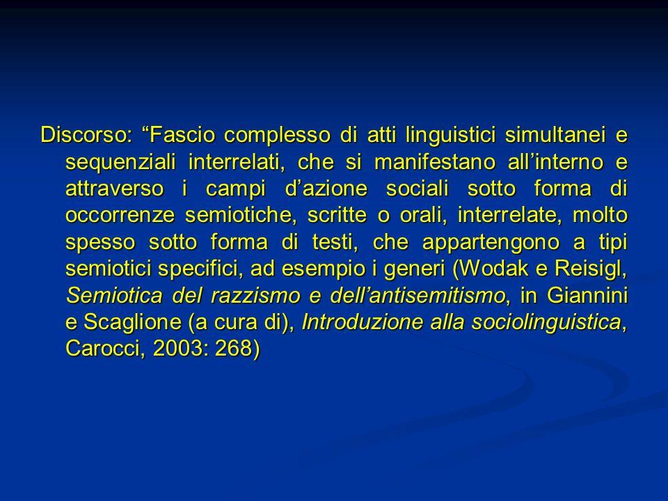 Discorso: Fascio complesso di atti linguistici simultanei e sequenziali interrelati, che si manifestano allinterno e attraverso i campi dazione social