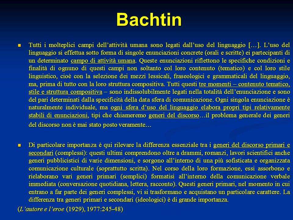 Bachtin Tutti i molteplici campi dellattività umana sono legati dalluso del linguaggio […]. Luso del linguaggio si effettua sotto forma di singole enu