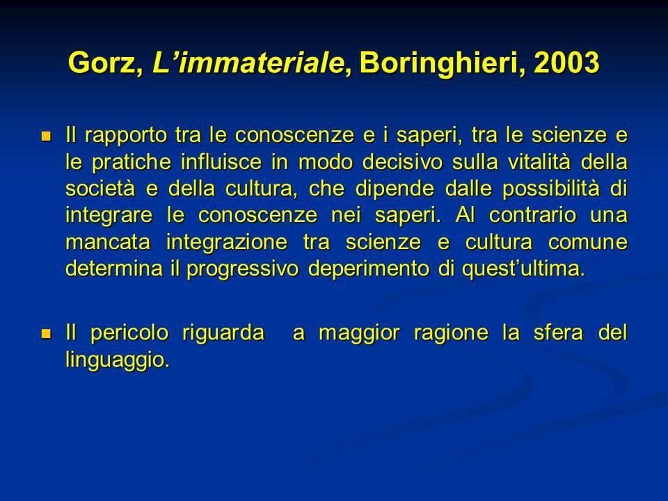 Gorz, Limmateriale, Boringhieri, 2003 Il rapporto tra le conoscenze e i saperi, tra le scienze e le pratiche influisce in modo decisivo sulla vitalità