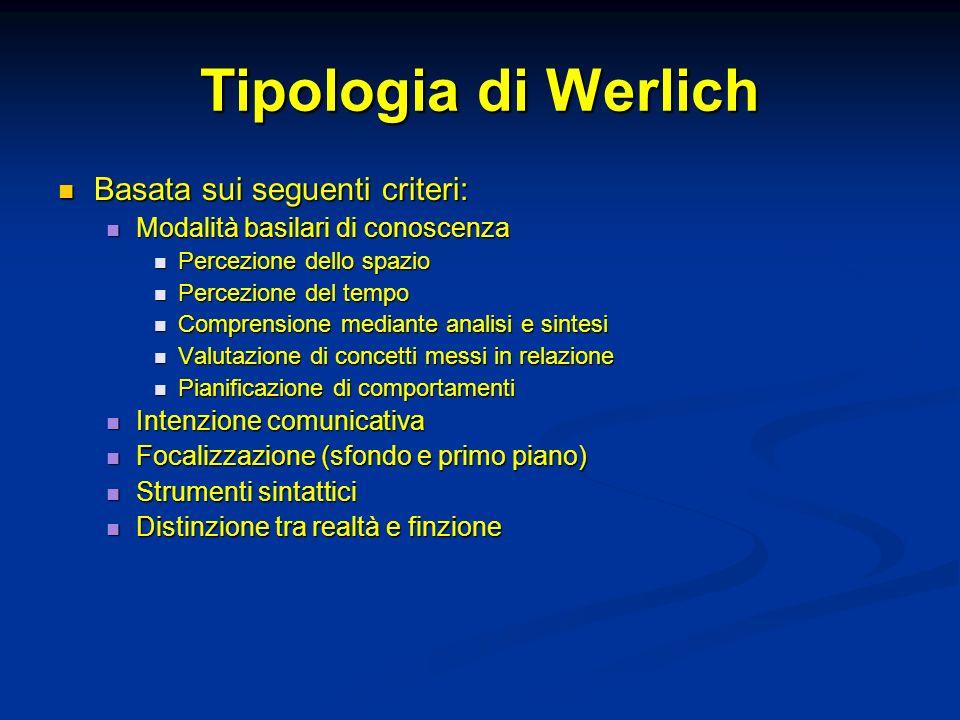 Tipologia di Werlich Basata sui seguenti criteri: Basata sui seguenti criteri: Modalità basilari di conoscenza Modalità basilari di conoscenza Percezi