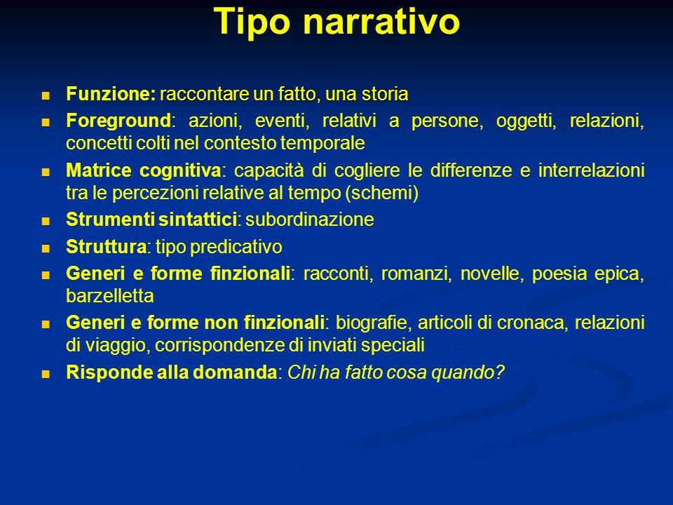 Tipo narrativo raccontare un fatto, una storia Funzione: raccontare un fatto, una storia Foreground: azioni, eventi, relativi a persone, oggetti, rela