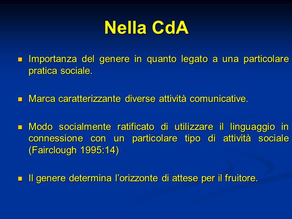 Nella CdA Importanza del genere in quanto legato a una particolare pratica sociale. Importanza del genere in quanto legato a una particolare pratica s