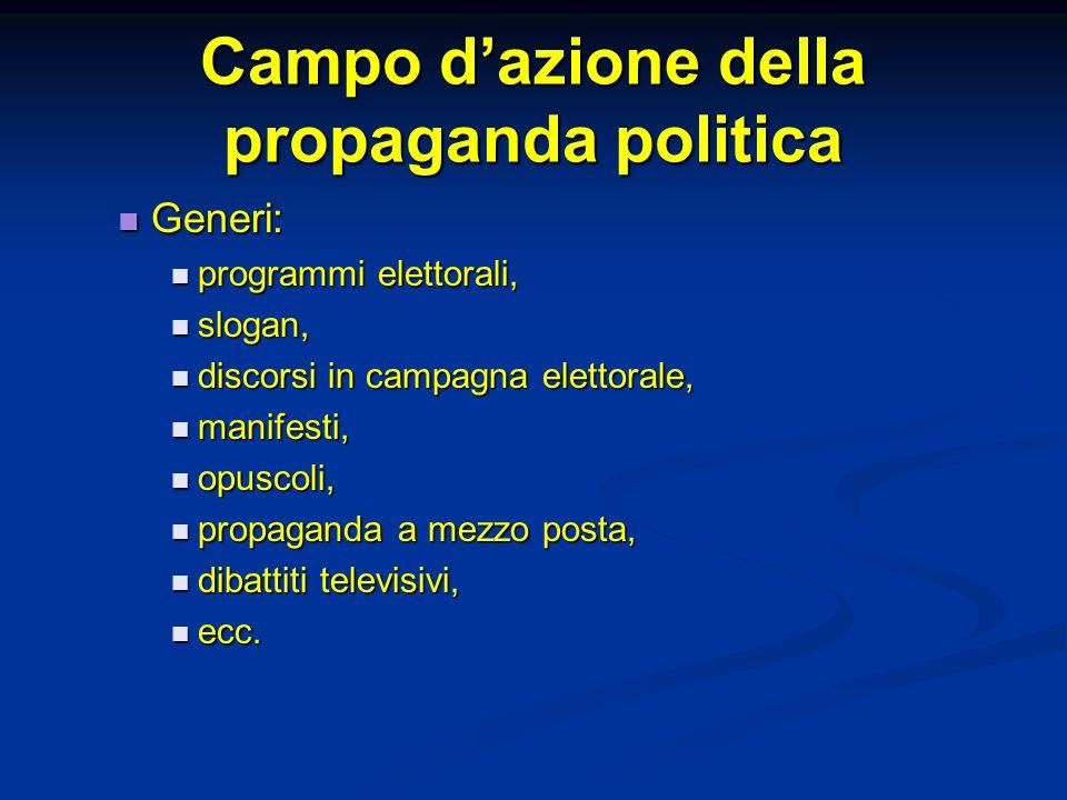 Campo dazione della propaganda politica Generi: Generi: programmi elettorali, programmi elettorali, slogan, slogan, discorsi in campagna elettorale, d