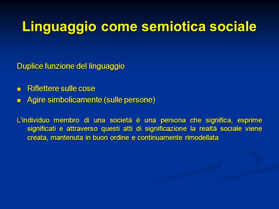 Linguaggio come semiotica sociale Duplice funzione del linguaggio Riflettere sulle cose Riflettere sulle cose Agire simbolicamente (sulle persone) Agi