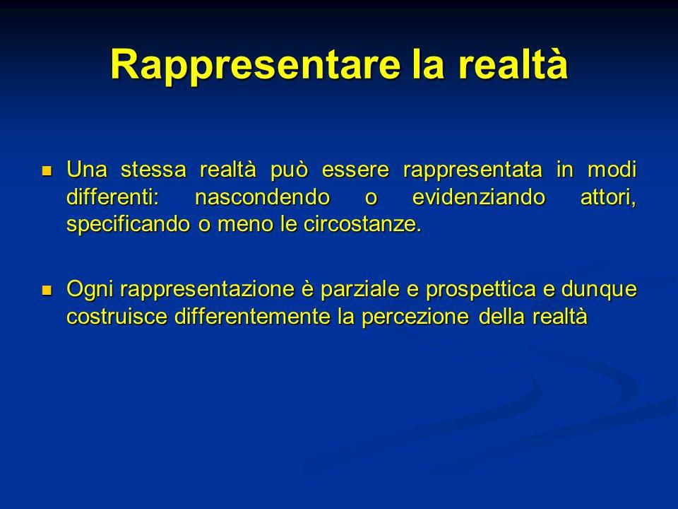 Rappresentare la realtà Una stessa realtà può essere rappresentata in modi differenti: nascondendo o evidenziando attori, specificando o meno le circo