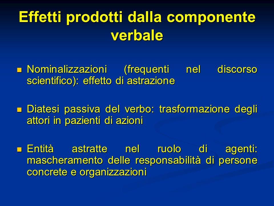 Effetti prodotti dalla componente verbale Nominalizzazioni (frequenti nel discorso scientifico): effetto di astrazione Nominalizzazioni (frequenti nel