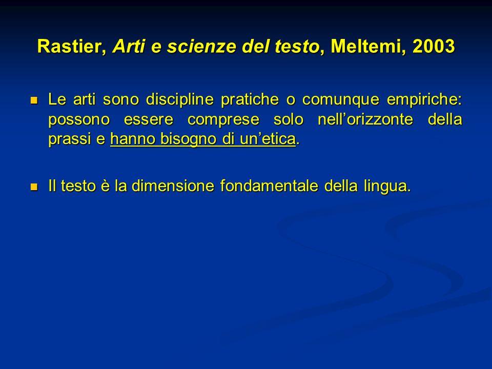 Rastier, Arti e scienze del testo, Meltemi, 2003 Le arti sono discipline pratiche o comunque empiriche: possono essere comprese solo nellorizzonte del