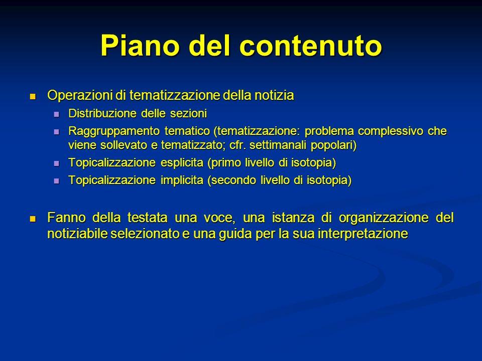 Piano del contenuto Operazioni di tematizzazione della notizia Operazioni di tematizzazione della notizia Distribuzione delle sezioni Distribuzione de