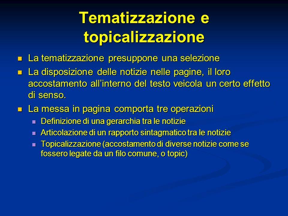 Tematizzazione e topicalizzazione La tematizzazione presuppone una selezione La tematizzazione presuppone una selezione La disposizione delle notizie