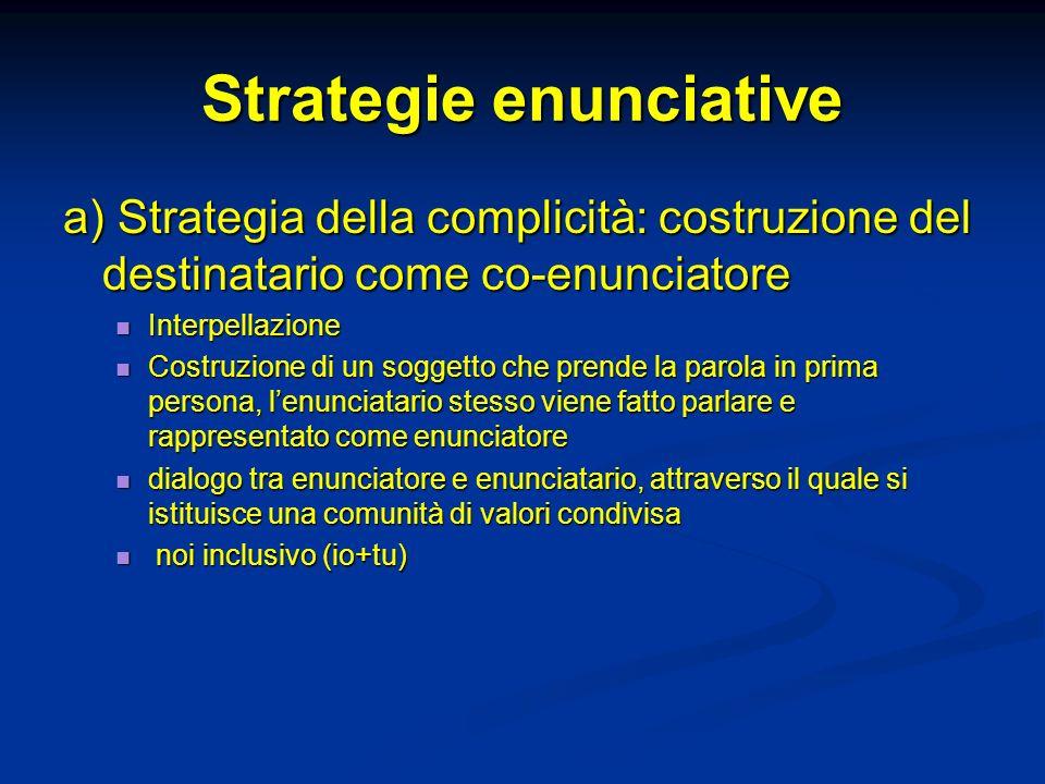 Strategie enunciative a) Strategia della complicità: costruzione del destinatario come co-enunciatore Interpellazione Interpellazione Costruzione di u