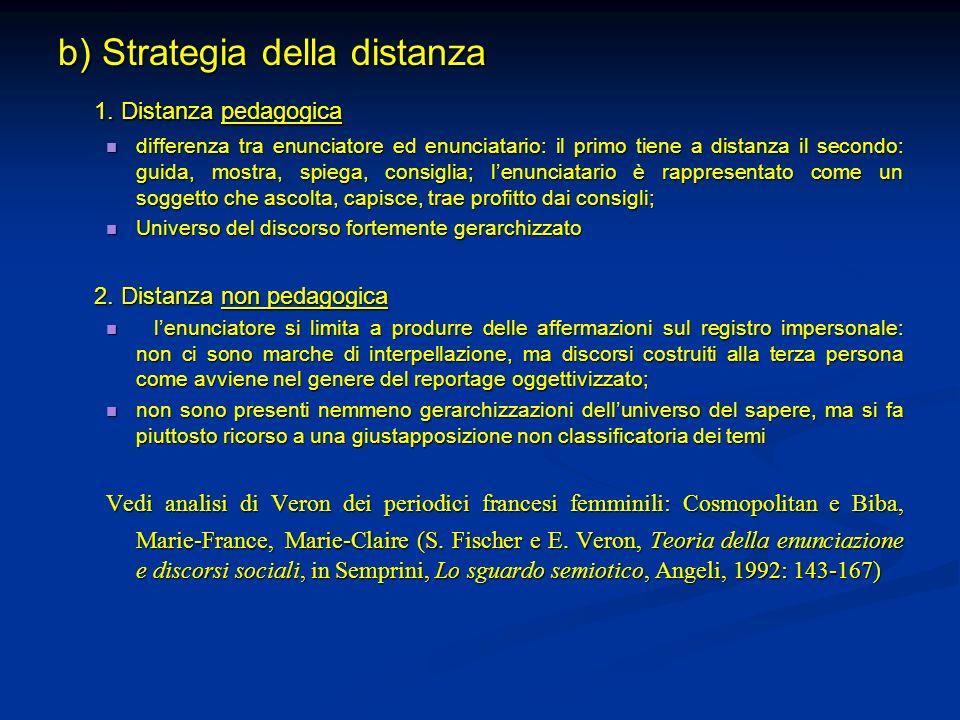 b) Strategia della distanza 1. Distanza pedagogica differenza tra enunciatore ed enunciatario: il primo tiene a distanza il secondo: guida, mostra, sp