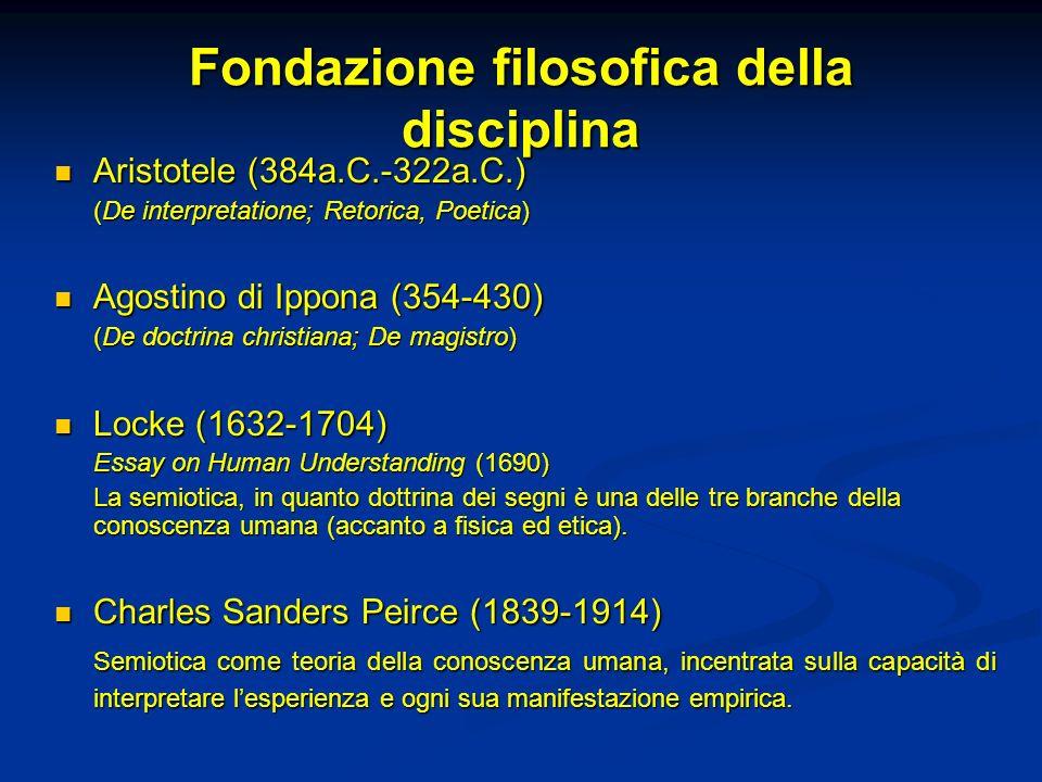 Fondazione filosofica della disciplina Aristotele (384a.C.-322a.C.) Aristotele (384a.C.-322a.C.) (De interpretatione; Retorica, Poetica) Agostino di I