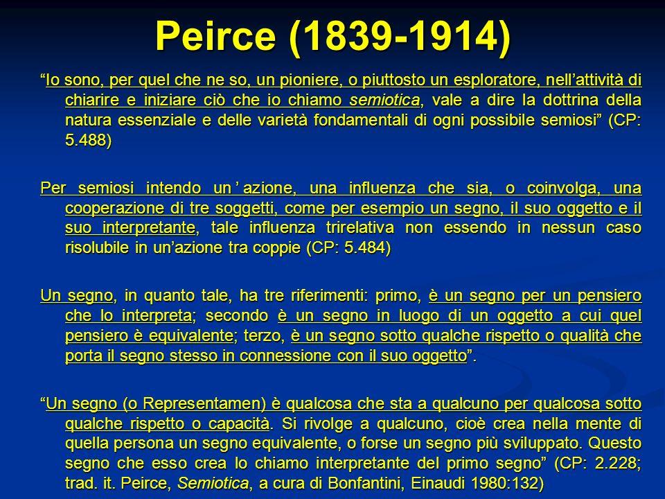 Peirce (1839-1914) Io sono, per quel che ne so, un pioniere, o piuttosto un esploratore, nellattività di chiarire e iniziare ciò che io chiamo semioti