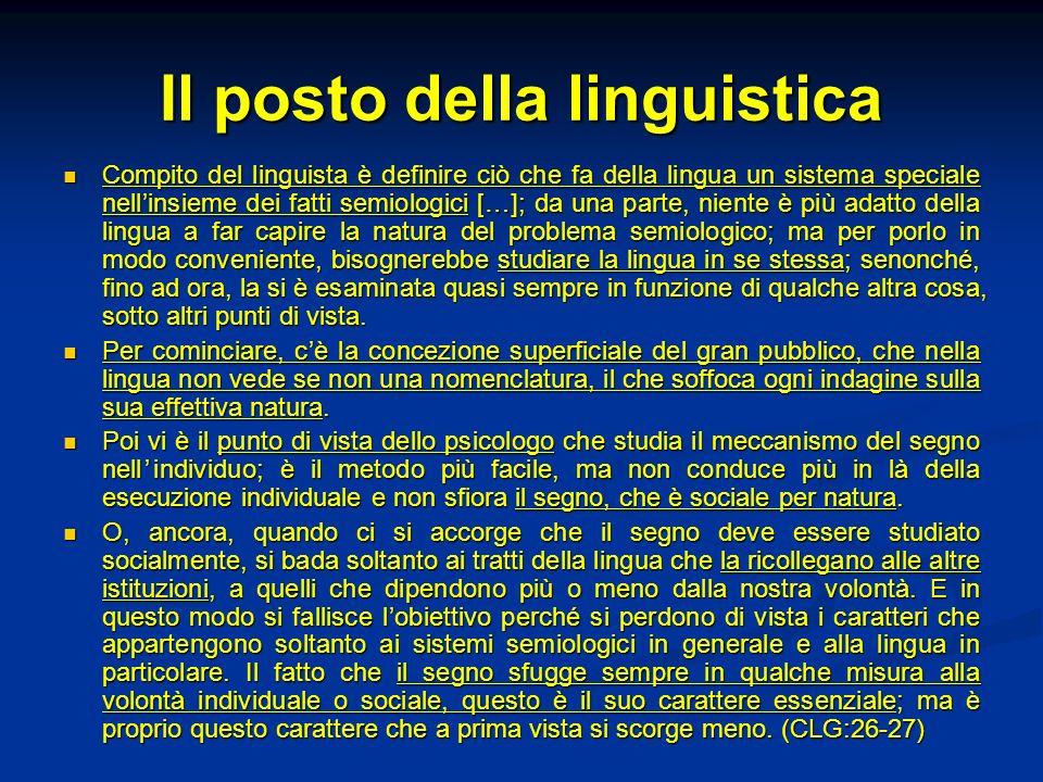 Il posto della linguistica Compito del linguista è definire ciò che fa della lingua un sistema speciale nellinsieme dei fatti semiologici […]; da una