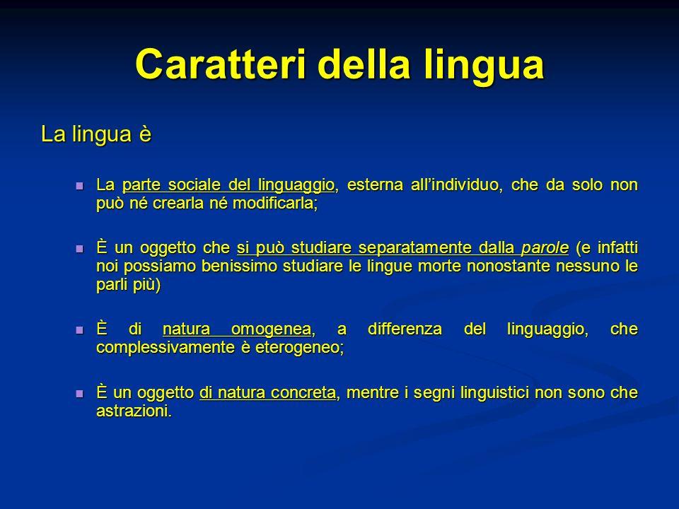 Caratteri della lingua La lingua è La parte sociale del linguaggio, esterna allindividuo, che da solo non può né crearla né modificarla; La parte soci