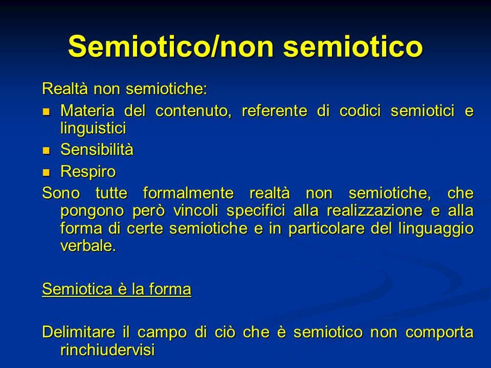 Semiotico/non semiotico Realtà non semiotiche: Materia del contenuto, referente di codici semiotici e linguistici Materia del contenuto, referente di