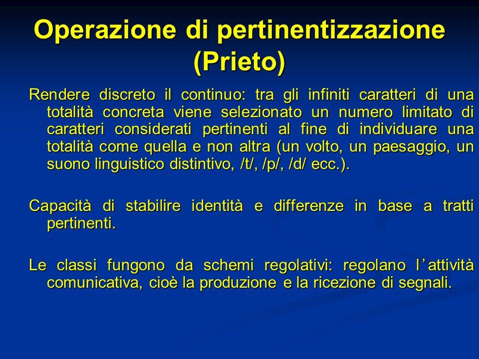 Operazione di pertinentizzazione (Prieto) Rendere discreto il continuo: tra gli infiniti caratteri di una totalità concreta viene selezionato un numer
