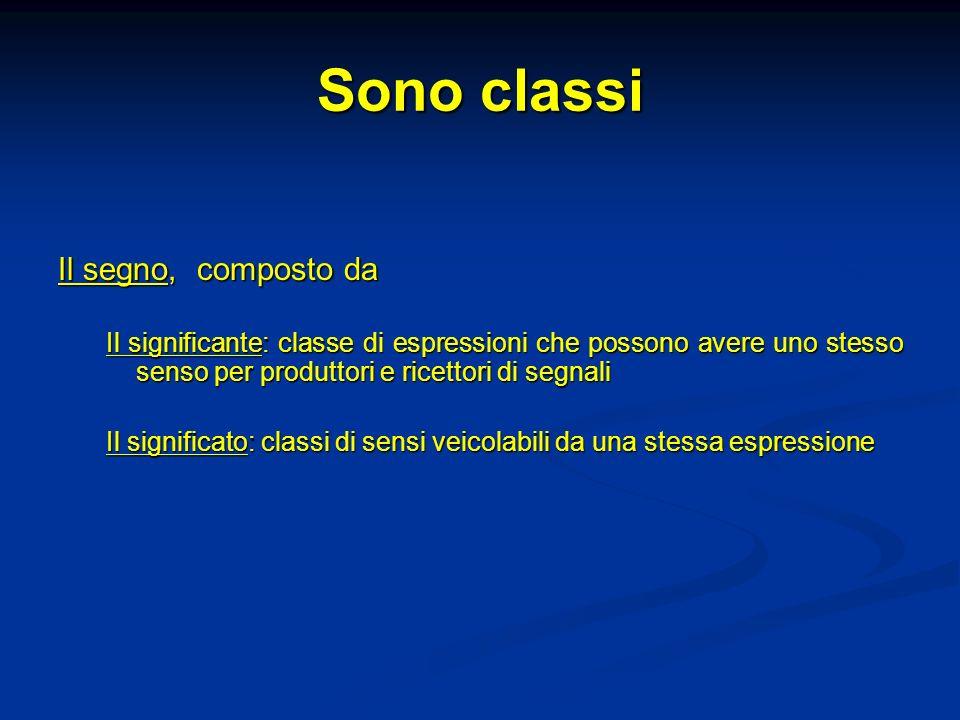 Sono classi Il segno, composto da Il significante: classe di espressioni che possono avere uno stesso senso per produttori e ricettori di segnali Il s