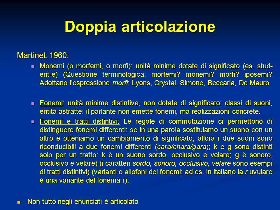 Doppia articolazione Martinet, 1960: Monemi (o morfemi, o morfi): unità minime dotate di significato (es. stud- ent-e) (Questione terminologica: morfe