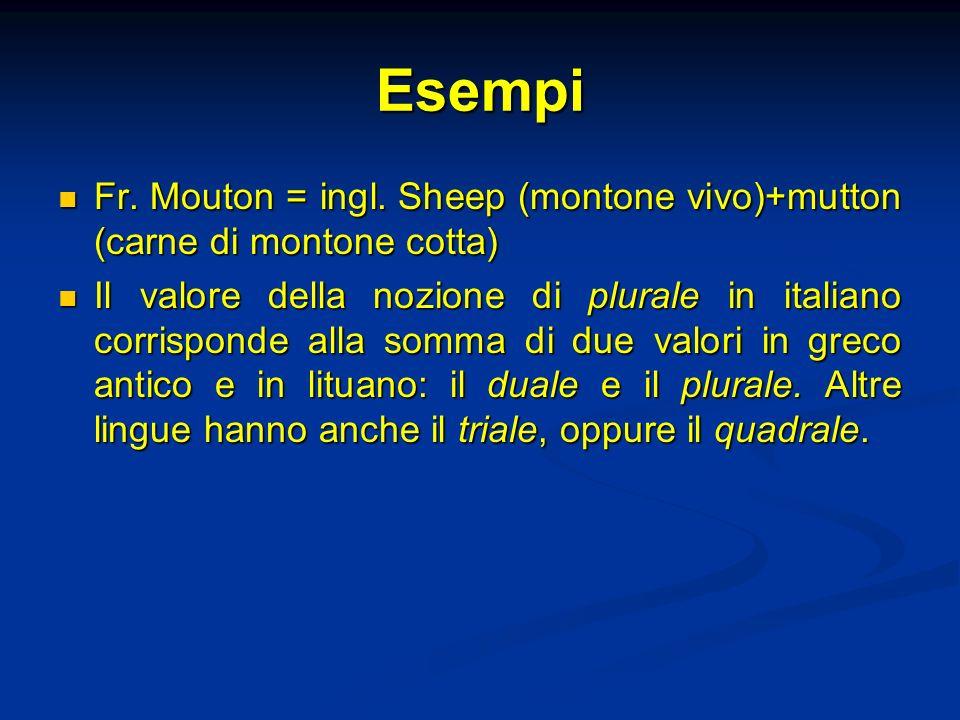 Esempi Fr. Mouton = ingl. Sheep (montone vivo)+mutton (carne di montone cotta) Fr. Mouton = ingl. Sheep (montone vivo)+mutton (carne di montone cotta)