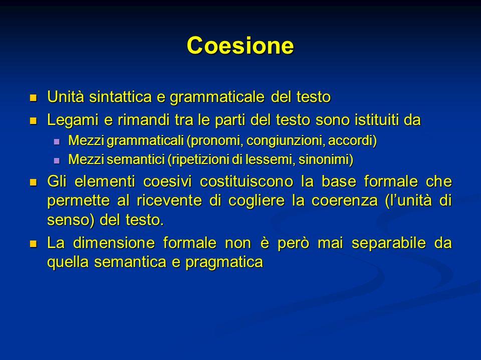 Coesione Unità sintattica e grammaticale del testo Unità sintattica e grammaticale del testo Legami e rimandi tra le parti del testo sono istituiti da