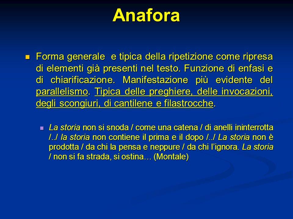 Anafora Forma generale e tipica della ripetizione come ripresa di elementi già presenti nel testo. Funzione di enfasi e di chiarificazione. Manifestaz