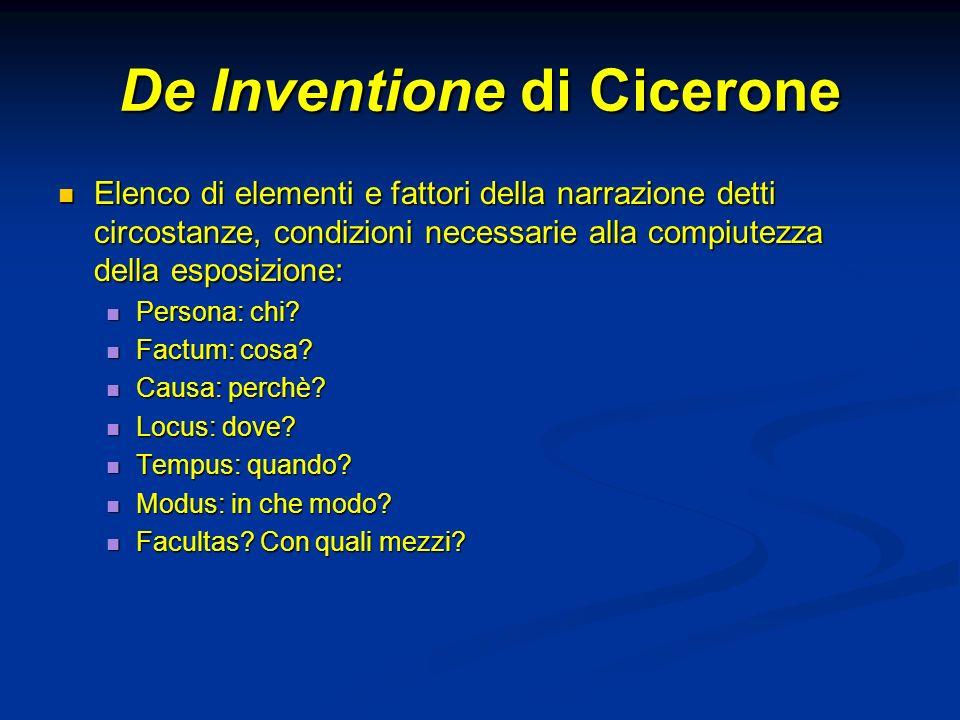 De Inventione di Cicerone Elenco di elementi e fattori della narrazione detti circostanze, condizioni necessarie alla compiutezza della esposizione: E