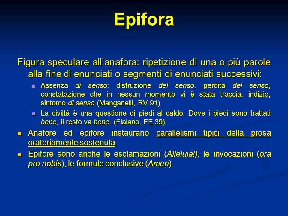 Epifora Figura speculare allanafora: ripetizione di una o più parole alla fine di enunciati o segmenti di enunciati successivi: Assenza di senso: dist