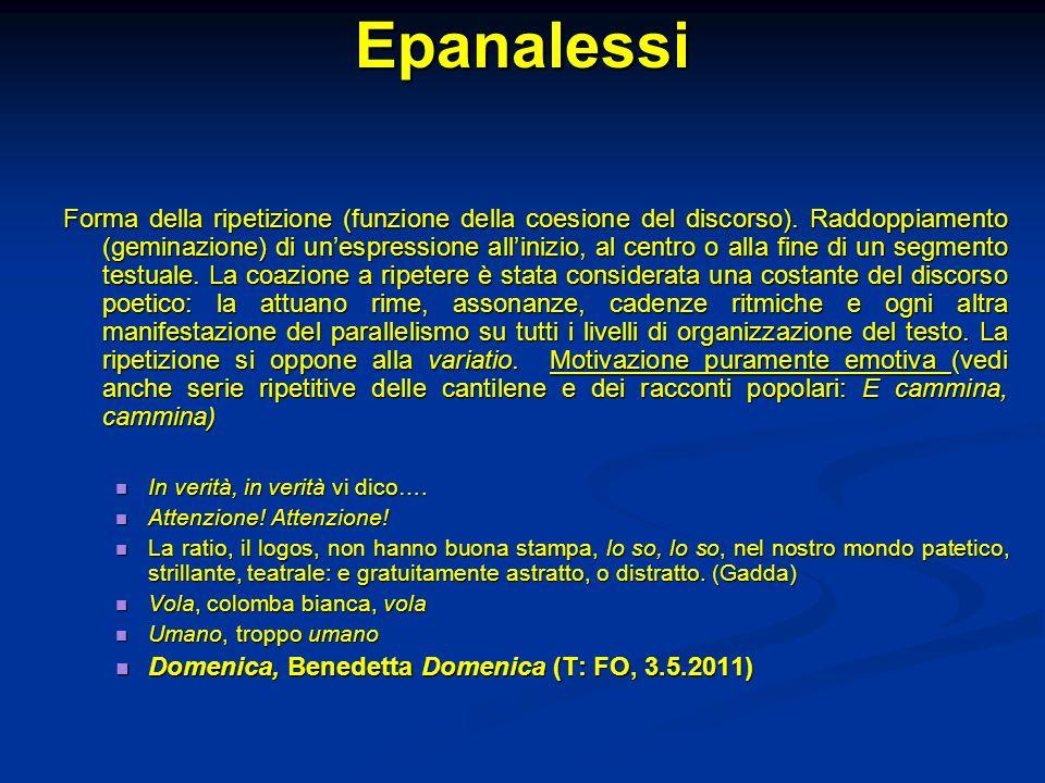Epanalessi Forma della ripetizione (funzione della coesione del discorso). Raddoppiamento (geminazione) di unespressione allinizio, al centro o alla f