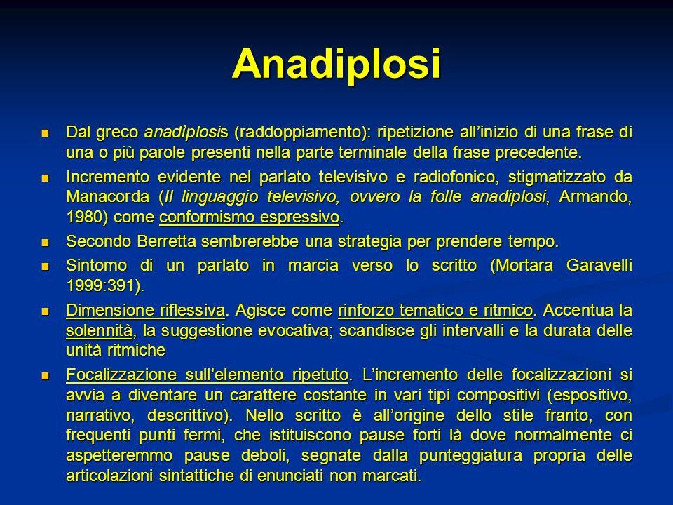 Anadiplosi Dal greco anadìplosis (raddoppiamento): ripetizione allinizio di una frase di una o più parole presenti nella parte terminale della frase p