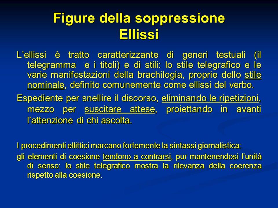 Figure della soppressione Ellissi Lellissi è tratto caratterizzante di generi testuali (il telegramma e i titoli) e di stili: lo stile telegrafico e l