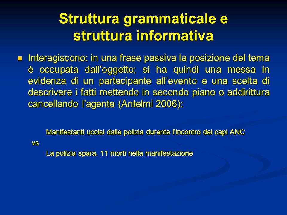 Struttura grammaticale e struttura informativa Interagiscono: in una frase passiva la posizione del tema è occupata dalloggetto; si ha quindi una mess
