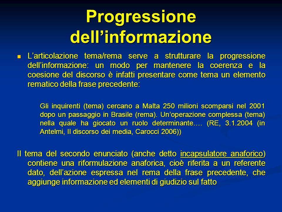 Progressione dellinformazione Larticolazione tema/rema serve a strutturare la progressione dellinformazione: un modo per mantenere la coerenza e la co