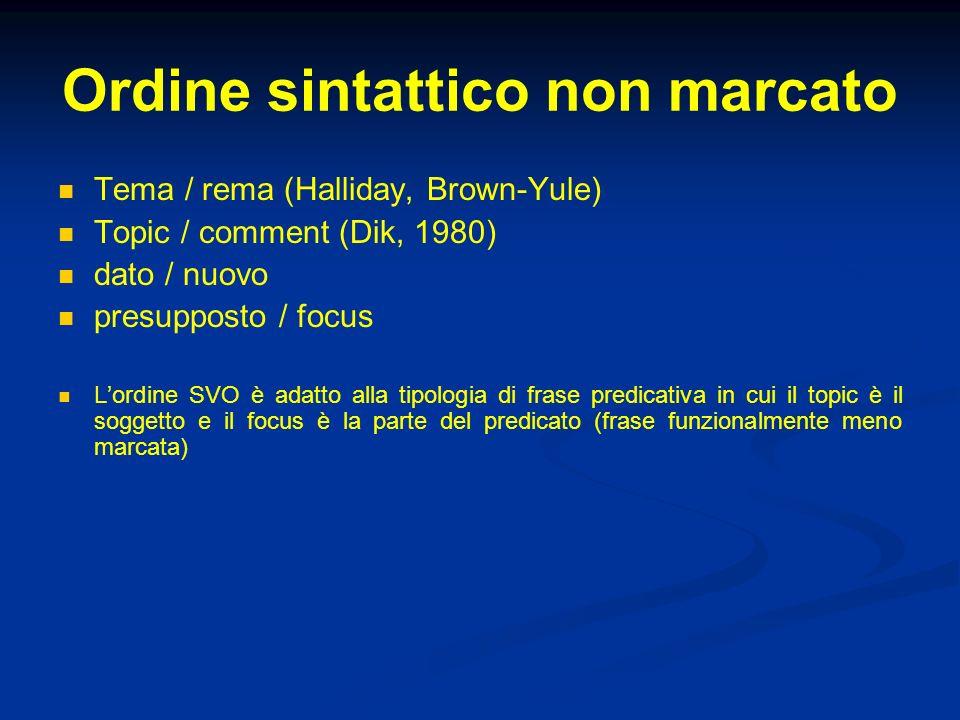 Ordine sintattico non marcato Tema / rema (Halliday, Brown-Yule) Topic / comment (Dik, 1980) dato / nuovo presupposto / focus Lordine SVO è adatto all