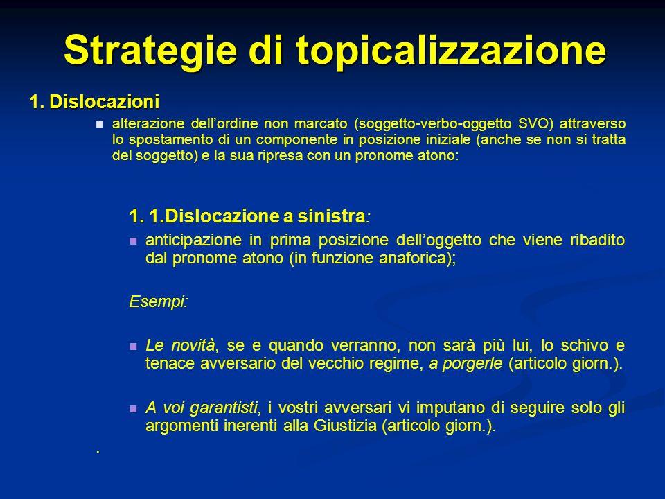 Strategie di topicalizzazione 1. Dislocazioni alterazione dellordine non marcato (soggetto-verbo-oggetto SVO) attraverso lo spostamento di un componen