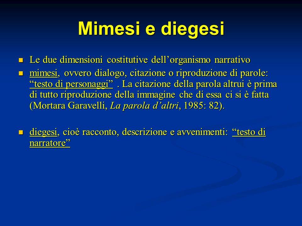 Mimesi e diegesi Le due dimensioni costitutive dellorganismo narrativo Le due dimensioni costitutive dellorganismo narrativo mimesi, ovvero dialogo, c