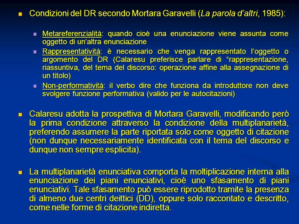 Condizioni del DR secondo Mortara Garavelli (La parola daltri, 1985): Condizioni del DR secondo Mortara Garavelli (La parola daltri, 1985): Metarefere